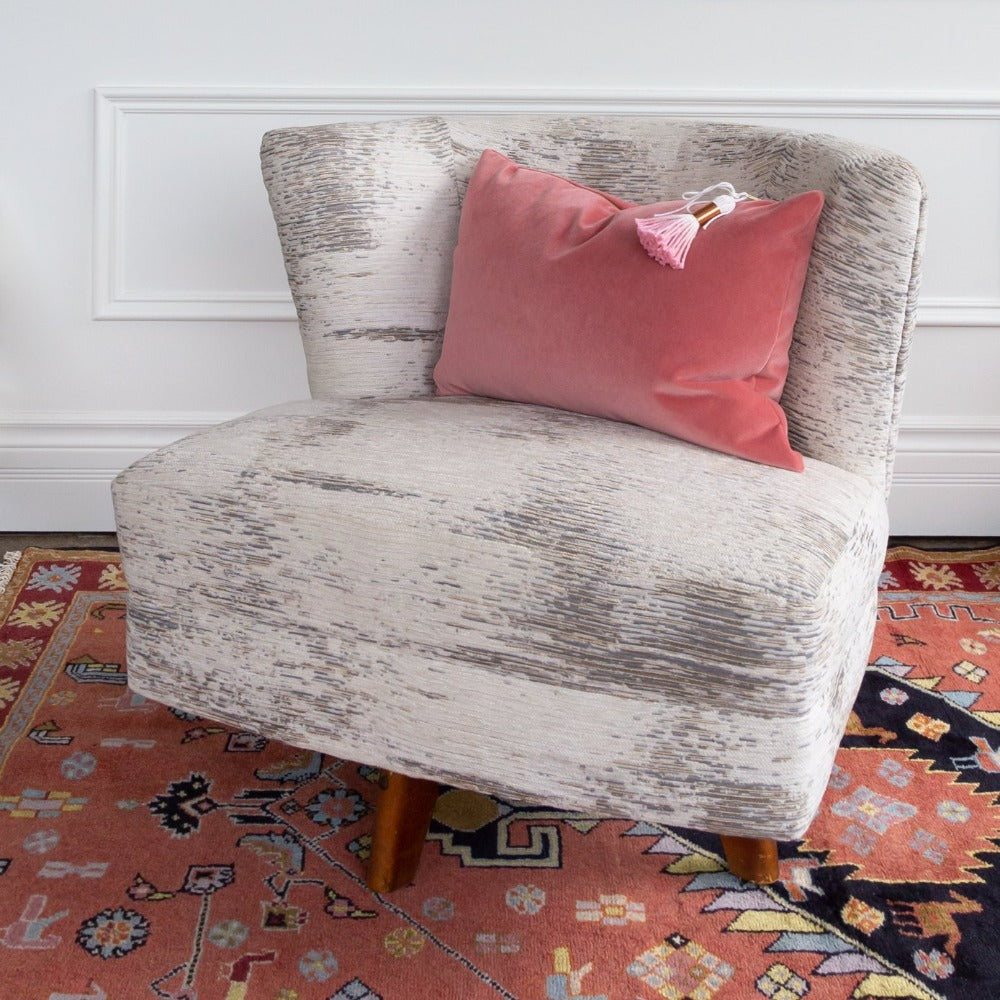 Moonwalk fabric upholstered on swivel chair