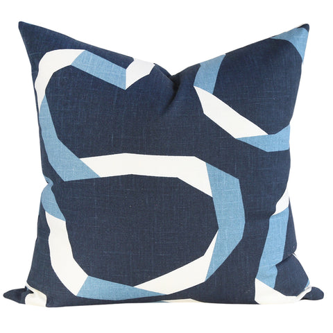 Vent Ribbon, Admiral - A large and open scale graphic pillow that is inspired by folded ribbons in midnight blue, pacific teal and cream.