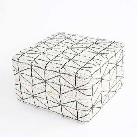 Ottoman Cube - Vigo, Black + White - Tonic Living