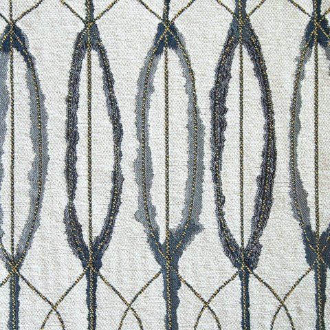 Vitali, Bottle Glass - An unusually beautiful, painterly fabric in cream, denim blue meets blue-grey with metallic gold stitched lines woven in - Tonic Living