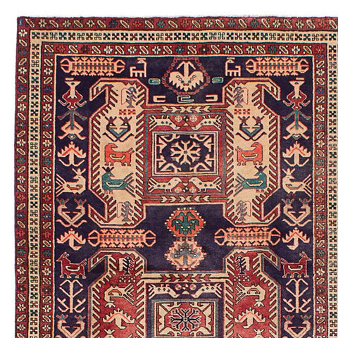 Woodrow - A beautiful dark navy and wine geometric vintage Persian runner rug.