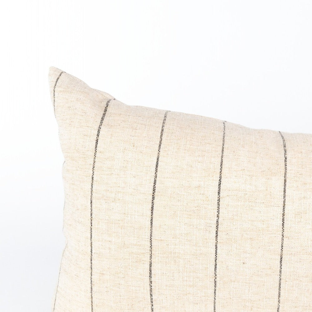 Dunrobin Stripe Bolster, Burlap, a cream with black stripe, extra long bed pillow from Tonic Living
