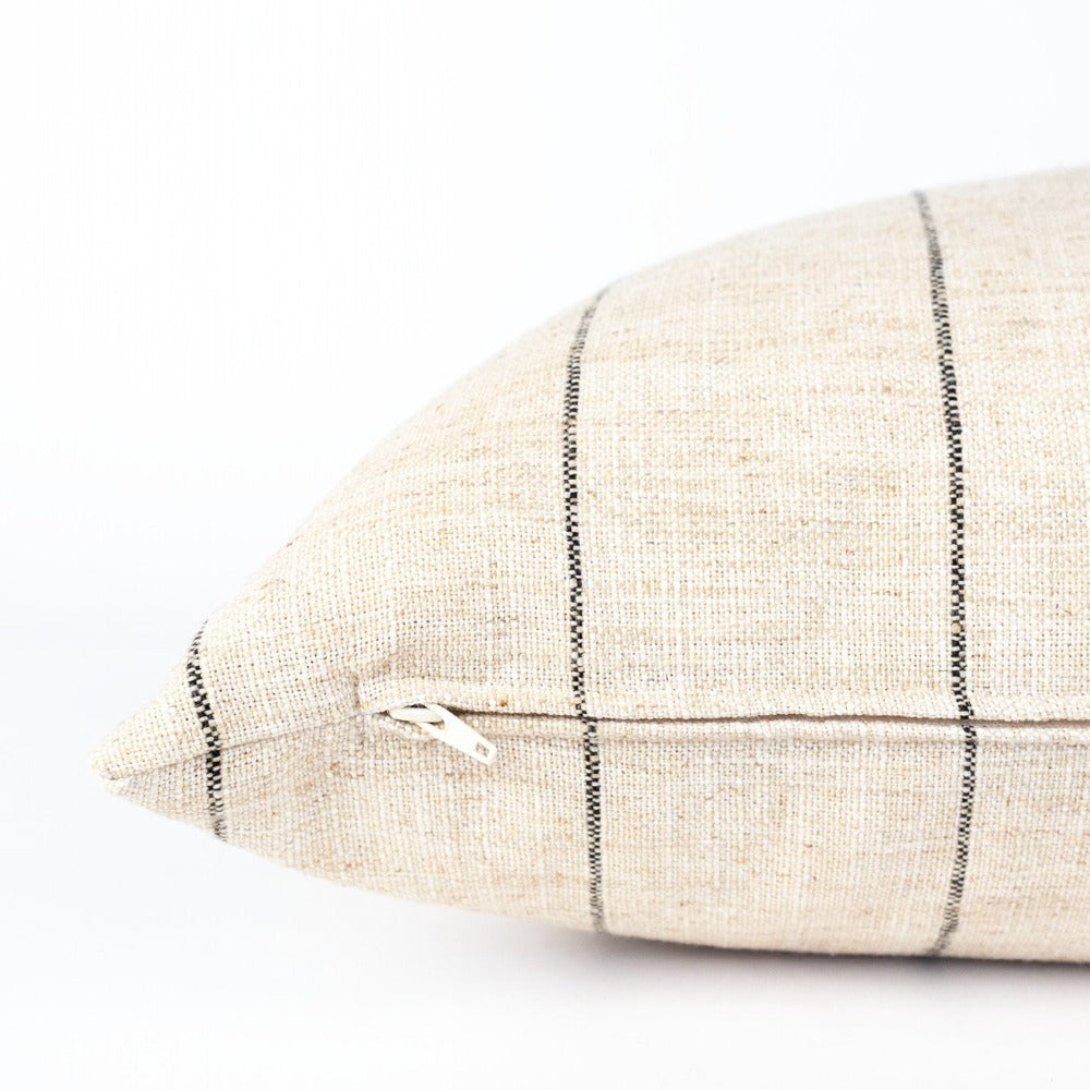 Dunrobin Stripe Bolster, Burlap, a cream with black stripe extra long bed pillow from Tonic Living