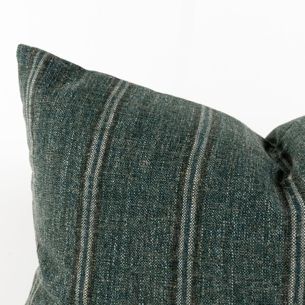 Yarmouth spruce green stripe lumbar pillow from Tonic Living