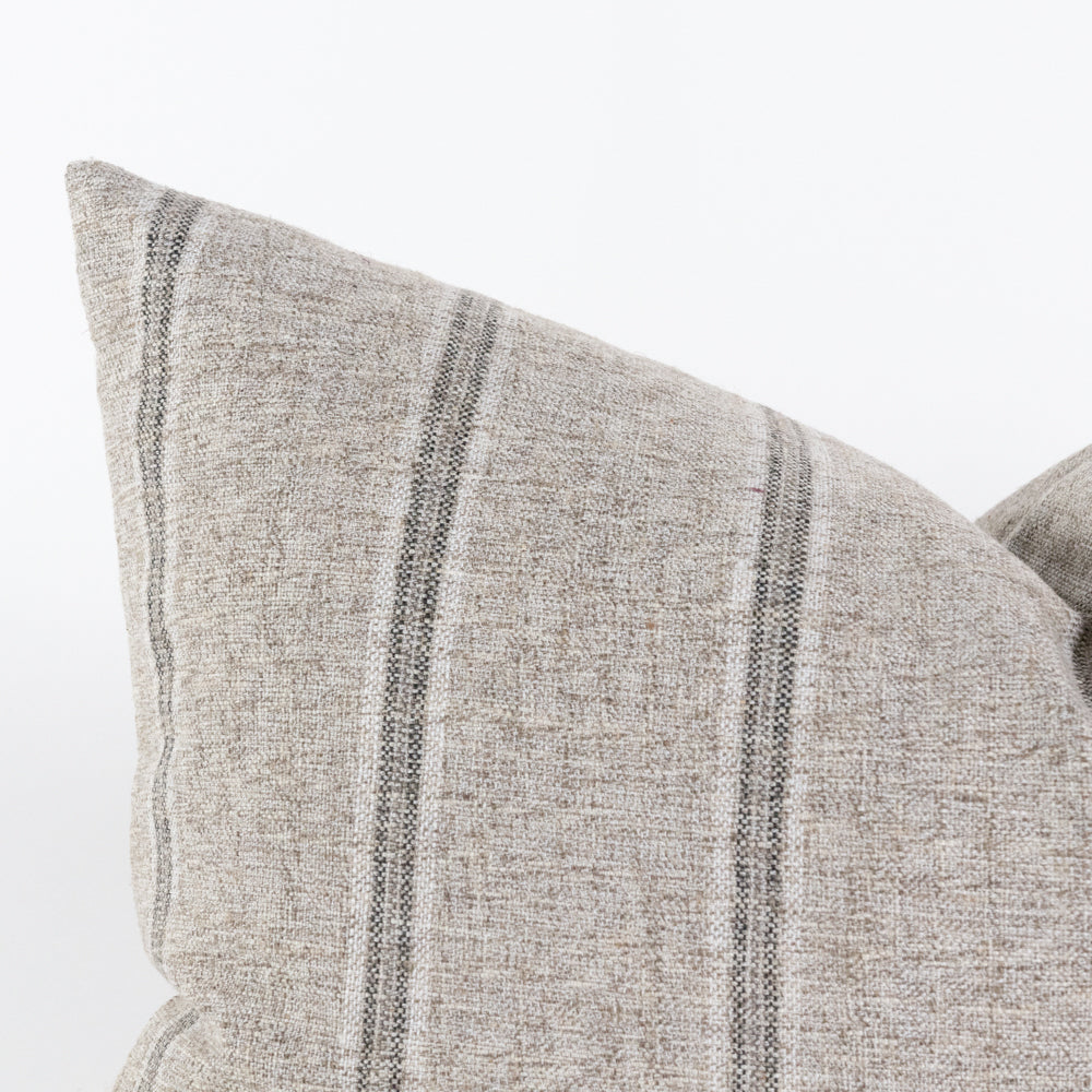 Yarmouth Zinc grey stripe lumbar pillow from Tonic Living