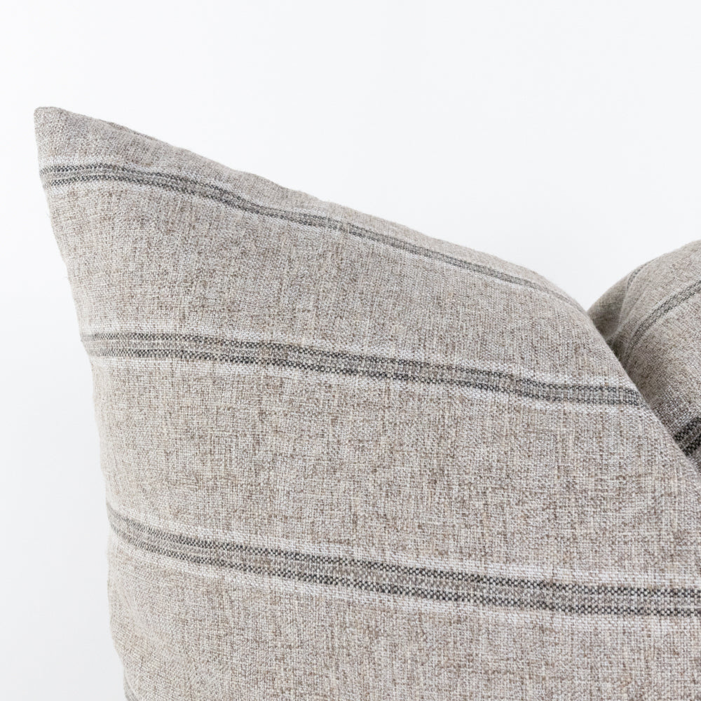 grey stripe pillow close up view