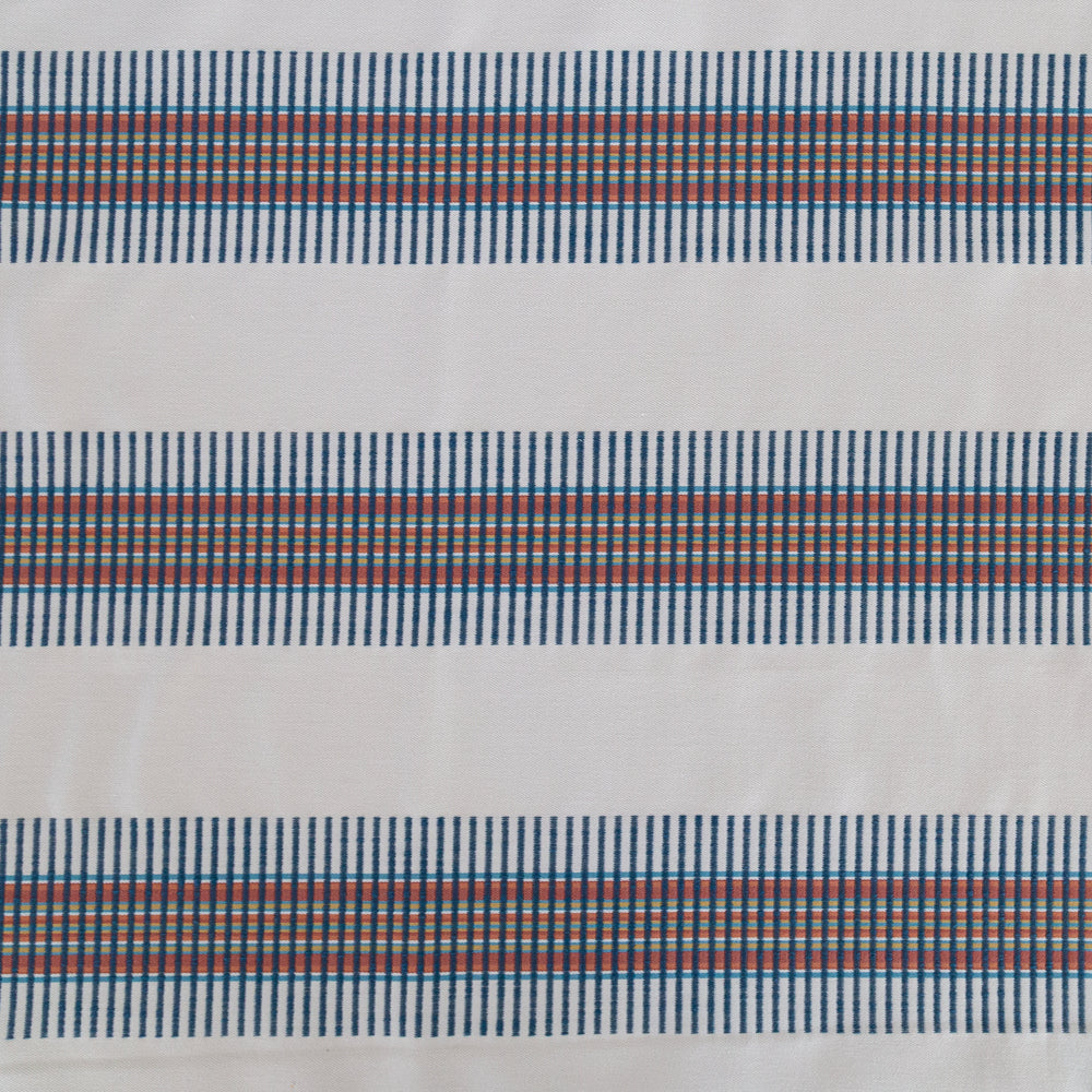 Zanzibar, blue and red striped global pillow from Tonic Living