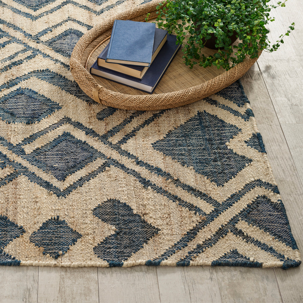 Zinnia a Dash and Albert graphic blue and natural jute rug at Tonic Living