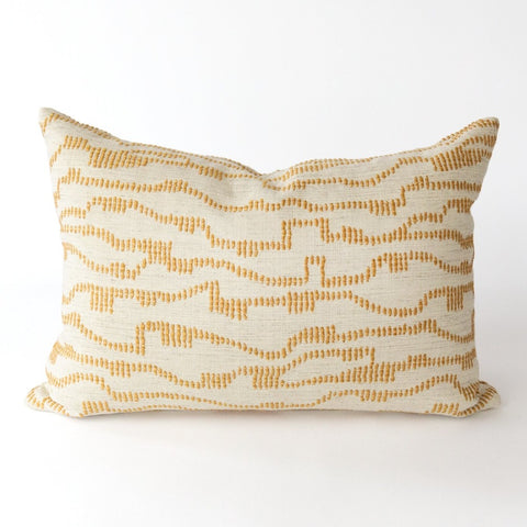 Zoe gold mustard dotty embroidered pillow from Tonic Living