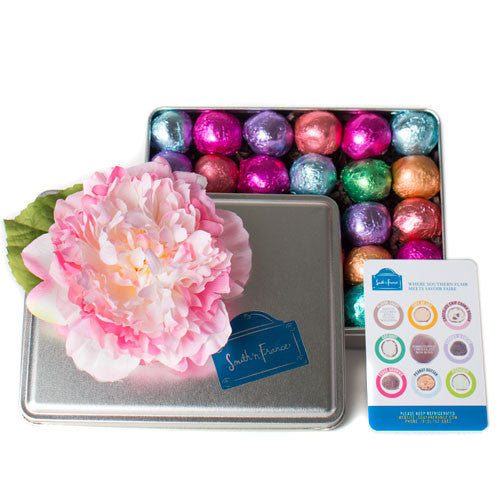 30 Piece Tin with Silk Flower