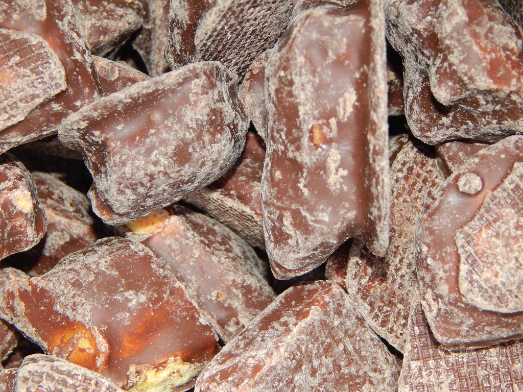Chocolate covered cinder toffee ( honeycombe)