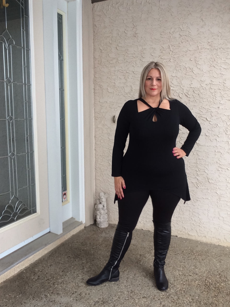 Cutout Swing Tunic -Black AVAILABLE IN EXTENDED SIZES