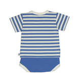 Bamboo Striped Body T-Shirt - Panda and the Sparrow - Sapphire & Natural - How I Wonder.co.uk - 2
