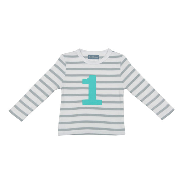 Grey & Turq Breton - Number T-shirt - Bob & Blossom - how-i-wonder