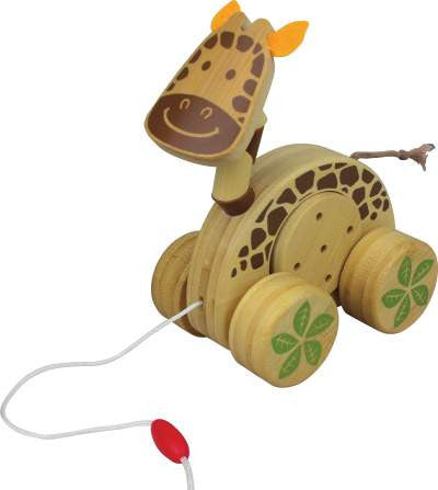 Wooden Bamboo Baby Pull-Along Toy - Giraffe Jingle Roller - How I Wonder.co.uk - 1
