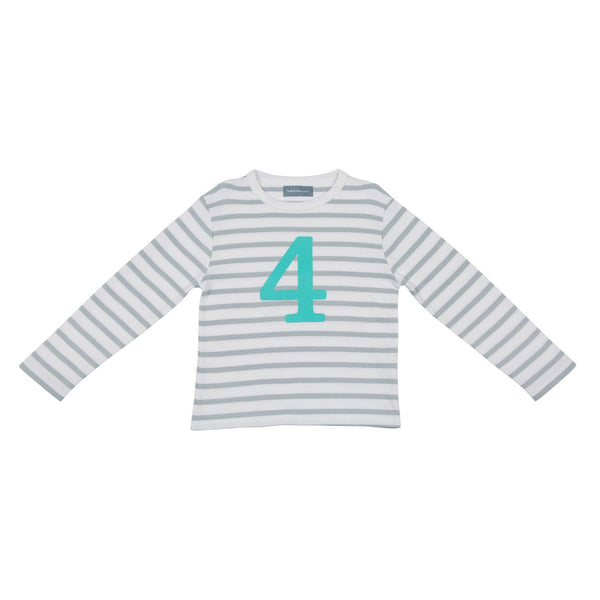 Grey & Turq Breton - Number 4 T-shirt - Bob & Blossom - how-i-wonder