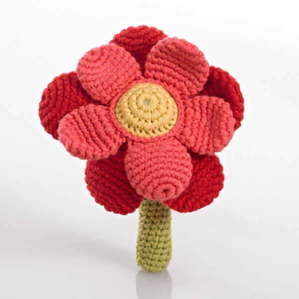 Pebble - Fairtade - Handmade Red & Coral Flower Rattle - How I Wonder.co.uk