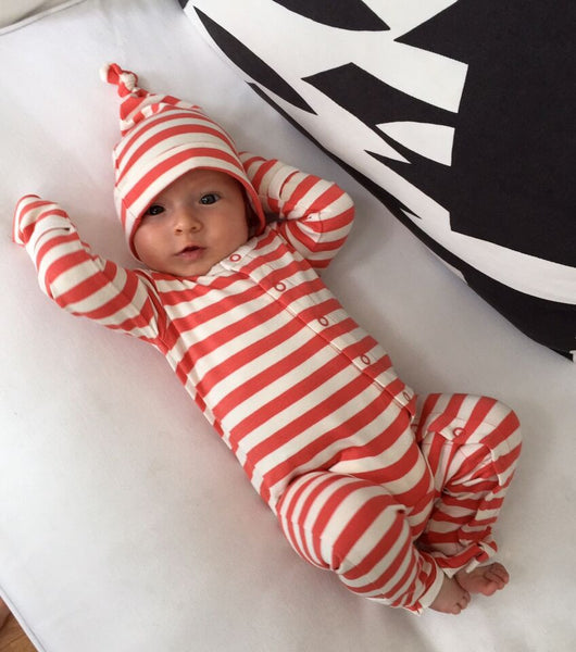 Bamboo Striped Baby Grow - Panda and the Sparrow - Coral & Natural - How I Wonder.co.uk - 5