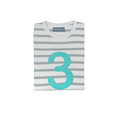 Grey & Turq Breton - Number 3 T-shirt - Bob & Blossom - how-i-wonder