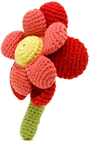 Pebble - Fairtade - Handmade Red & Coral Flower Rattle