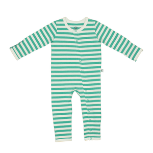 Bamboo Striped Baby Grow - Panda and the Sparrow - Jade & Natural - How I Wonder.co.uk - 1