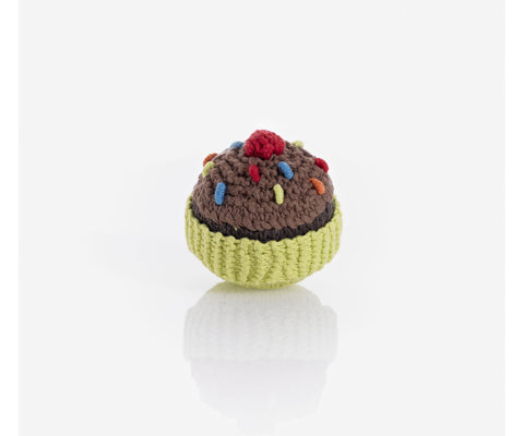 Pebbles - Fair Trade  - Handmade - Knitted Chococoate Cupcake Rattle - How I Wonder.co.uk
