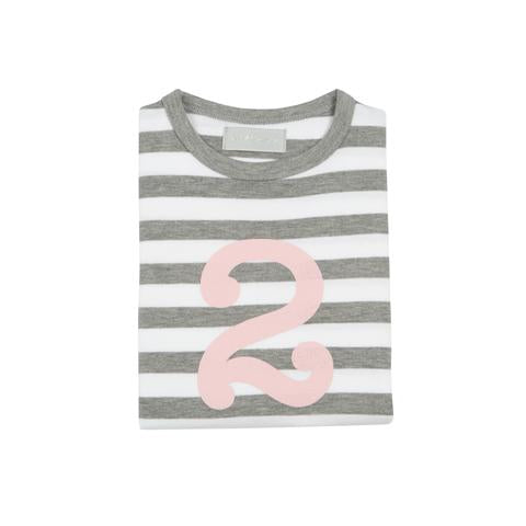 Grey Marl & Pink Breton - Number T-shirt - Bob & Blossom - how-i-wonder