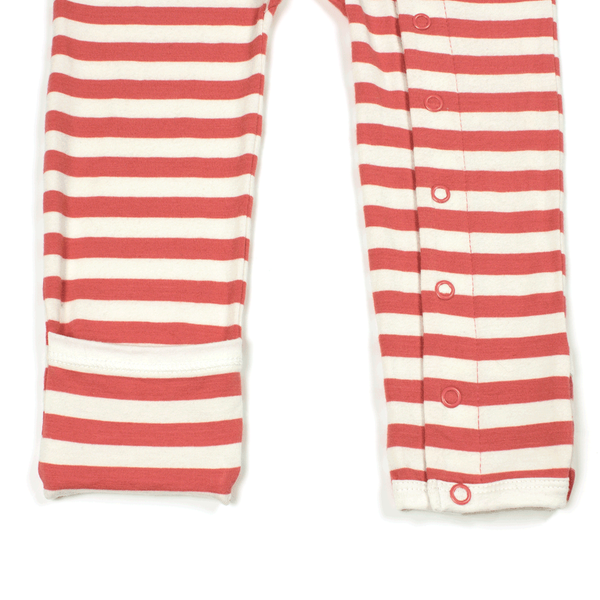Bamboo Striped Baby Grow - Panda and the Sparrow - Coral & Natural - How I Wonder.co.uk - 3