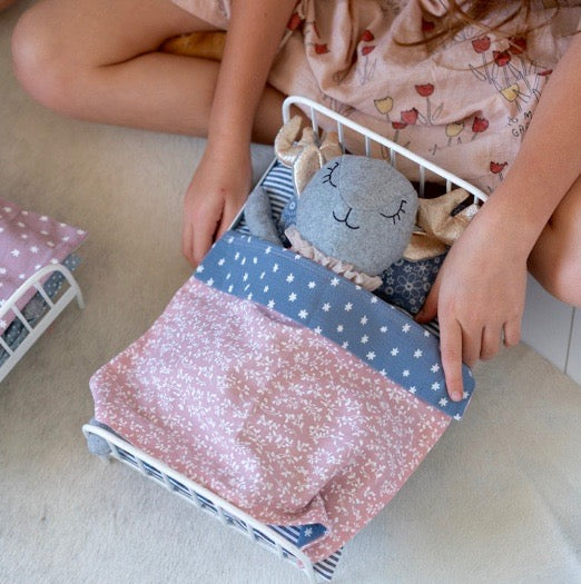 And the Little Dog Laughed - Jemima - Metal Bed - Dusky Pink & Blue