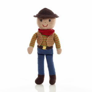 Crochet Cowboy Rattle - Pebble - how-i-wonder