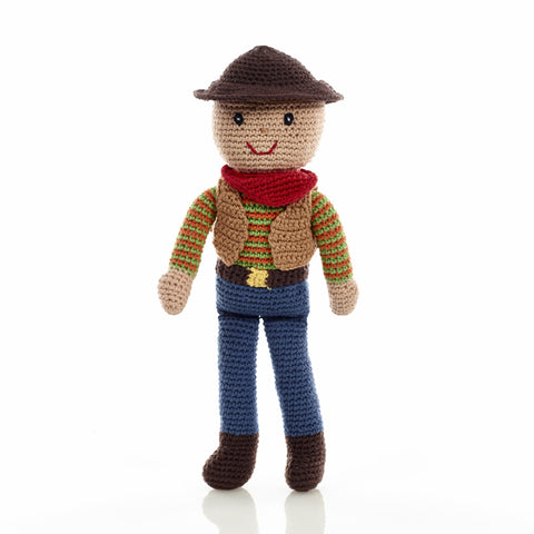 Pebble Fair Trade - Crochet Cowboy Rattle - How I Wonder.co.uk