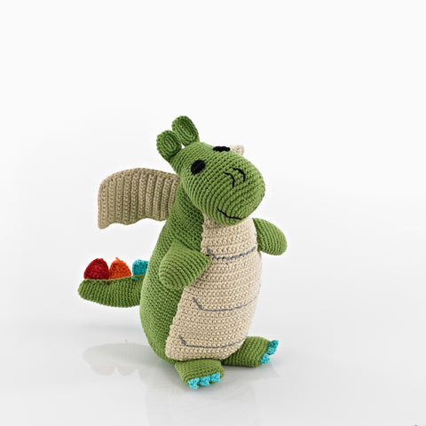 Pebble Fair Trade - Knitted Green Dragon - How I Wonder.co.uk