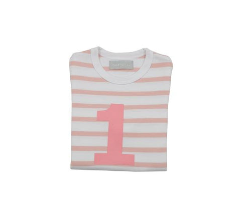 Dusty Pink & White Breton - Number T-shirt - Bob & Blossom - how-i-wonder