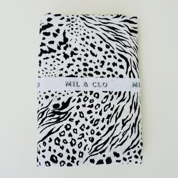 Animal Print - Cotton Muslin Swaddle/Scarf - Mil & Clo - how-i-wonder