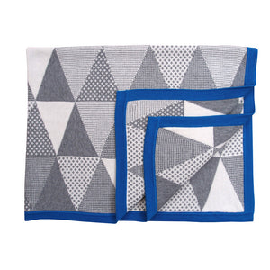 Unique Cotton Baby Blanket - Cobalt Geometric Blanket - How I Wonder.co.uk - 1
