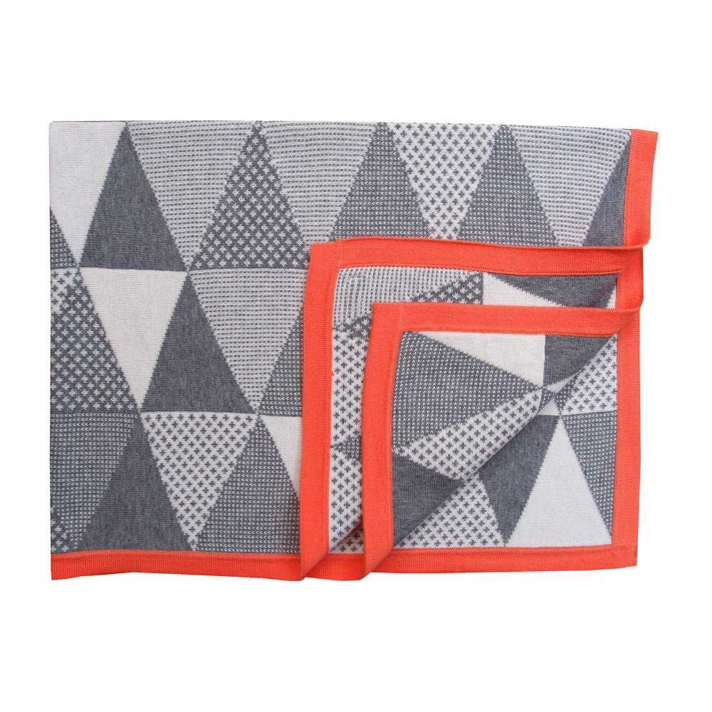 Coral Geometric Baby Blanket - Jolie Petite Chose - how-i-wonder