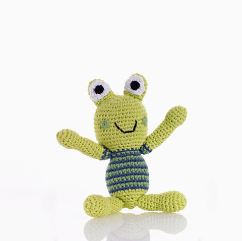 Pebble Fair Trade - Crochet Boy Frog Rattle - How I Wonder.co.uk