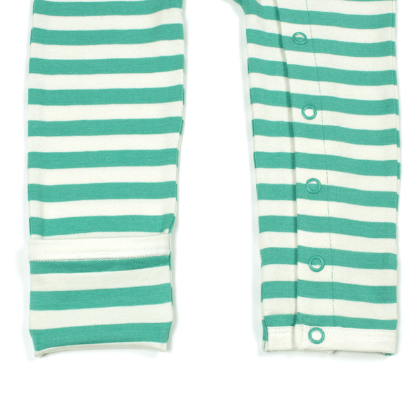 Bamboo Striped Baby Grow - Panda and the Sparrow - Jade & Natural - How I Wonder.co.uk - 3