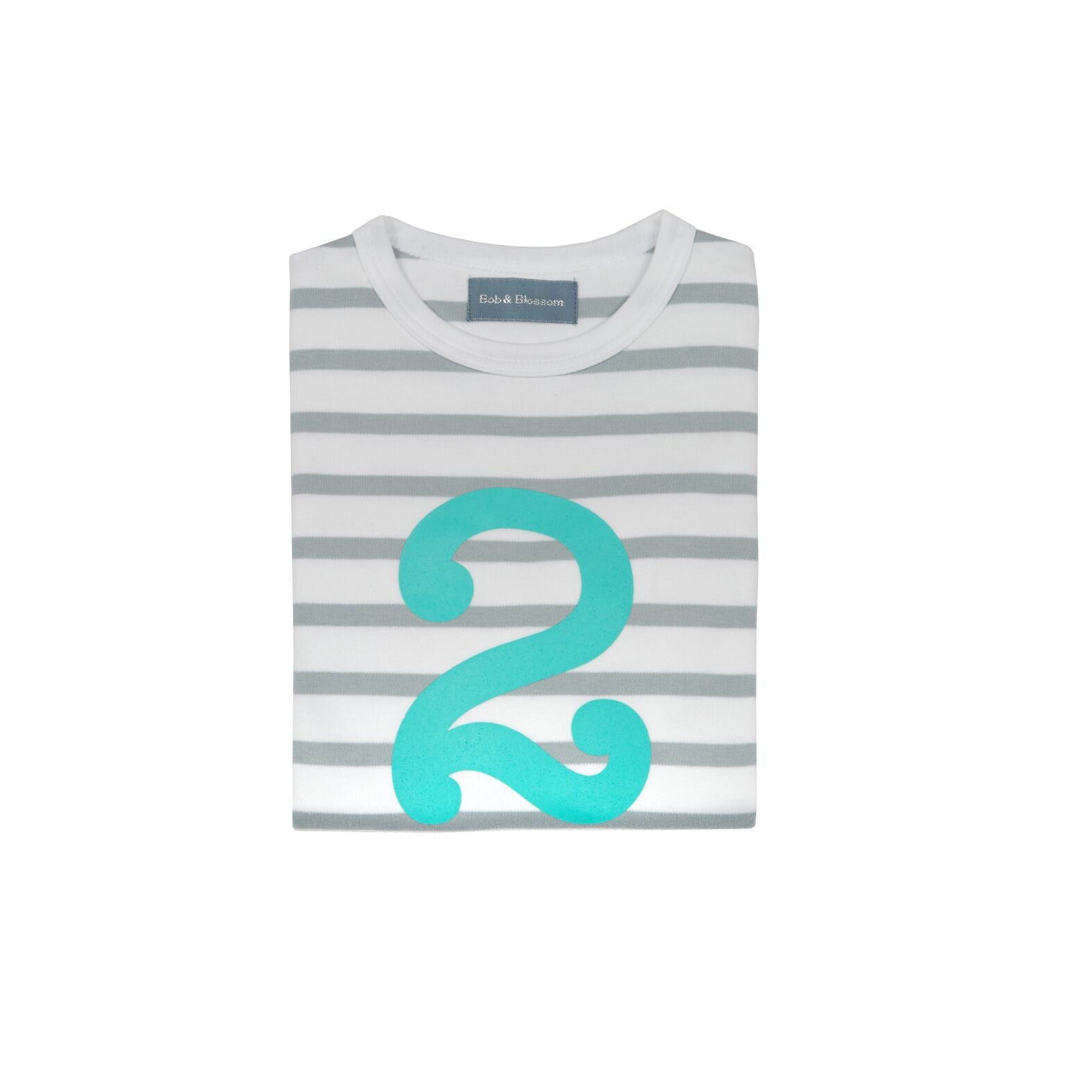 Grey & Turq Breton - Number 2 T-shirt - Bob & Blossom - how-i-wonder