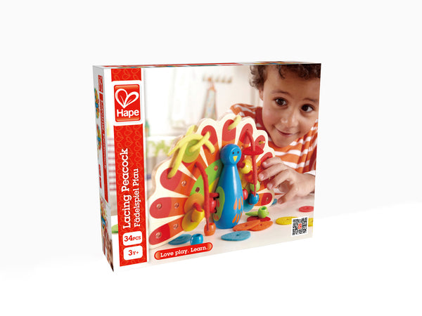 Hape Wooden Toy - Educational Lacing Peacock - How I Wonder.co.uk - 4