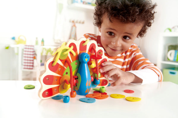 Hape Wooden Toy - Educational Lacing Peacock - How I Wonder.co.uk - 2