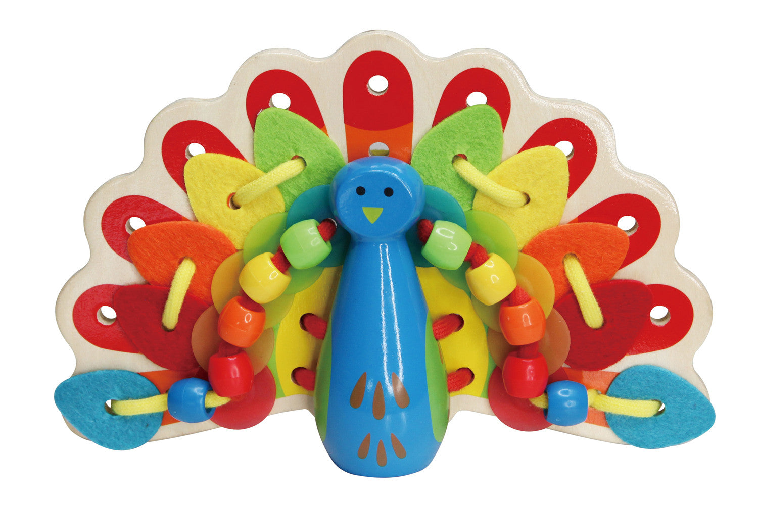 Hape Wooden Toy - Educational Lacing Peacock - How I Wonder.co.uk - 1