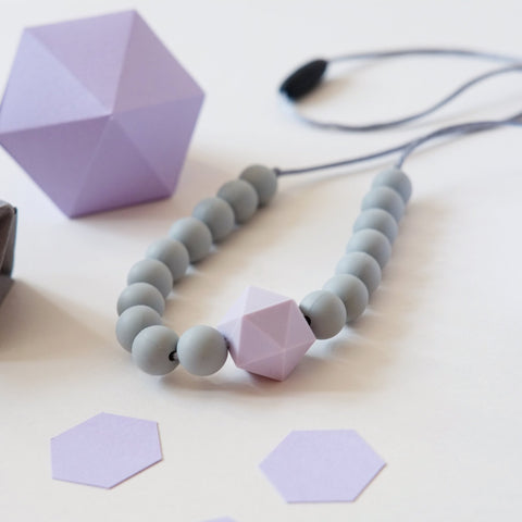 Colour Pop Geo Teething Necklace - Grey & Purple - Blossom & Bear - how-i-wonder