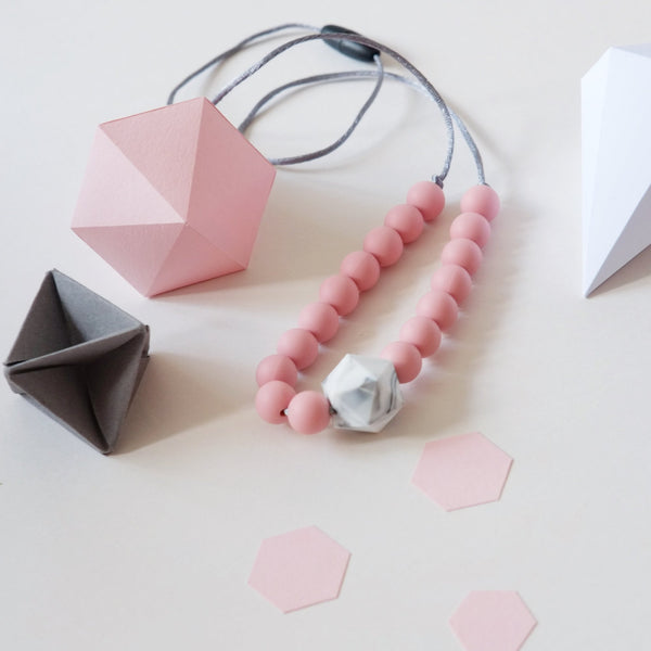 Colour Pop Geo Teething Necklace - Pink & Marble - Blossom & Bear - how-i-wonder