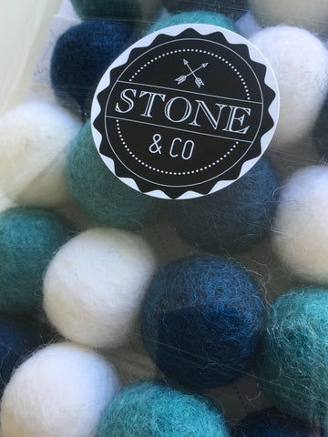 Stone & Co - Felt Ball Garland - Petrol