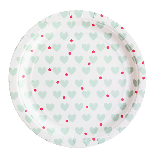 my little day - Paper Party Plates - Aqua Hearts - how-i-wonder