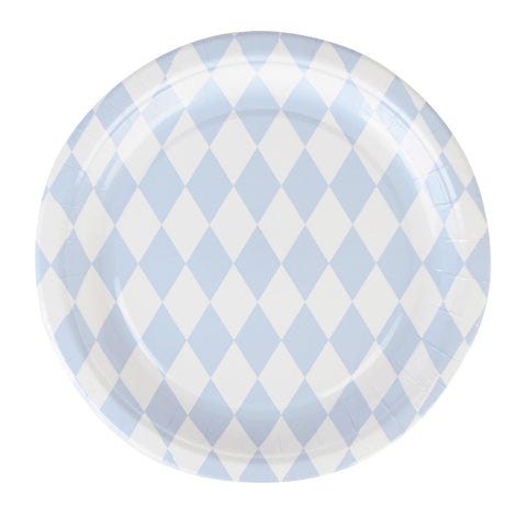 my little day - Paper Party Plates - Light Blue Diamond - how-i-wonder