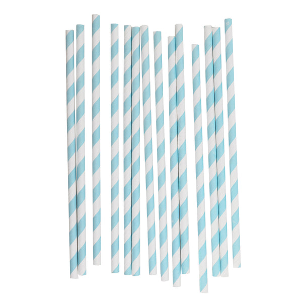 my little day - Candy Stripe Paper Straws - Light Blue and White - How I Wonder.co.uk - 1