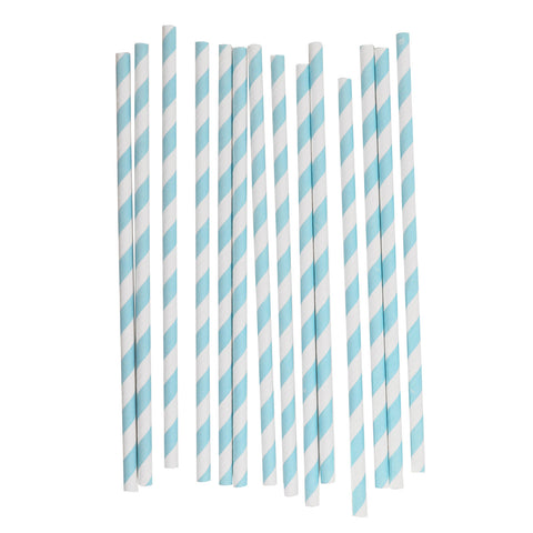 my little day - Candy Stripe Paper Straws - Light Blue and White - how-i-wonder