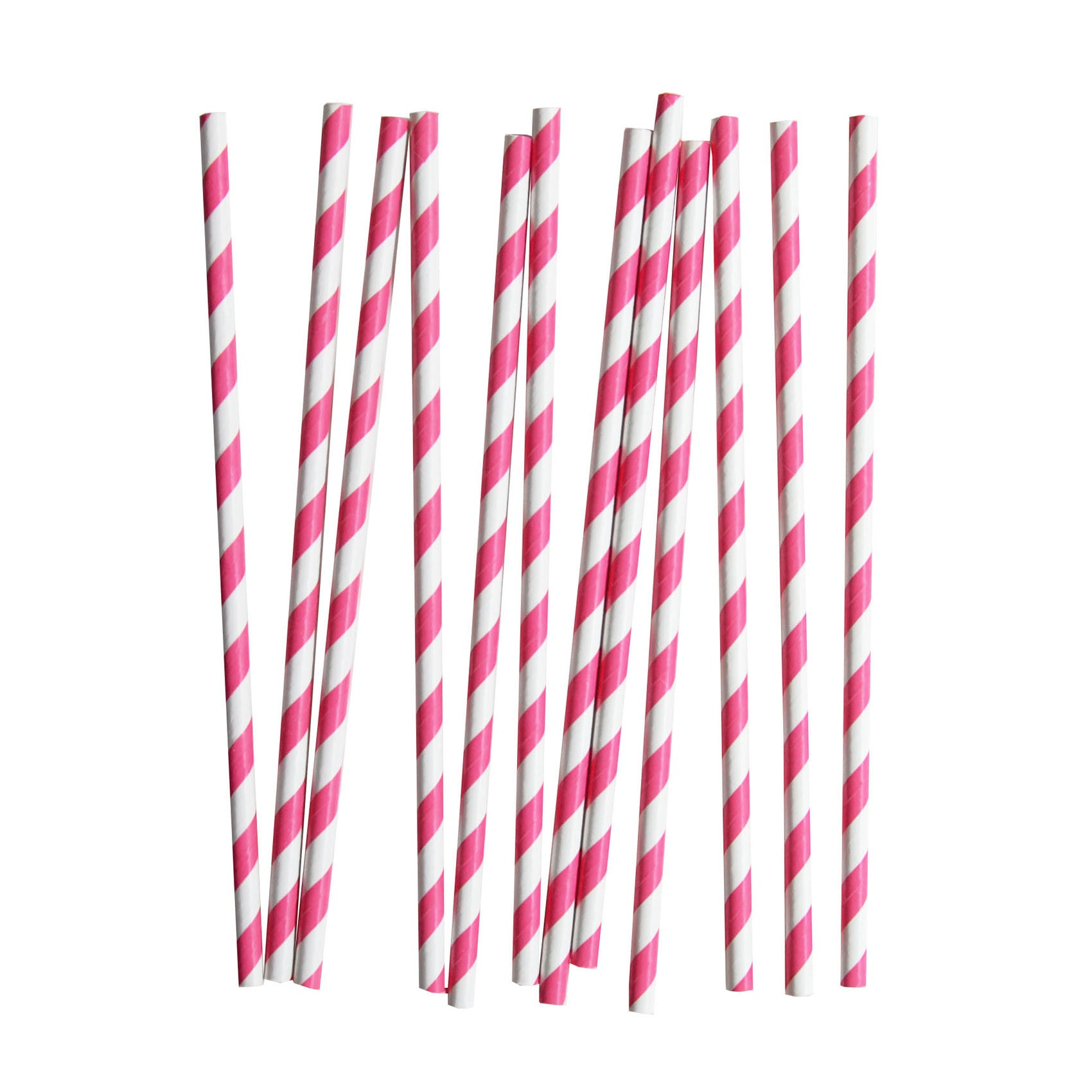 my little day - Candy Stripe Paper Straws - Fuchsia and White - How I Wonder.co.uk - 1